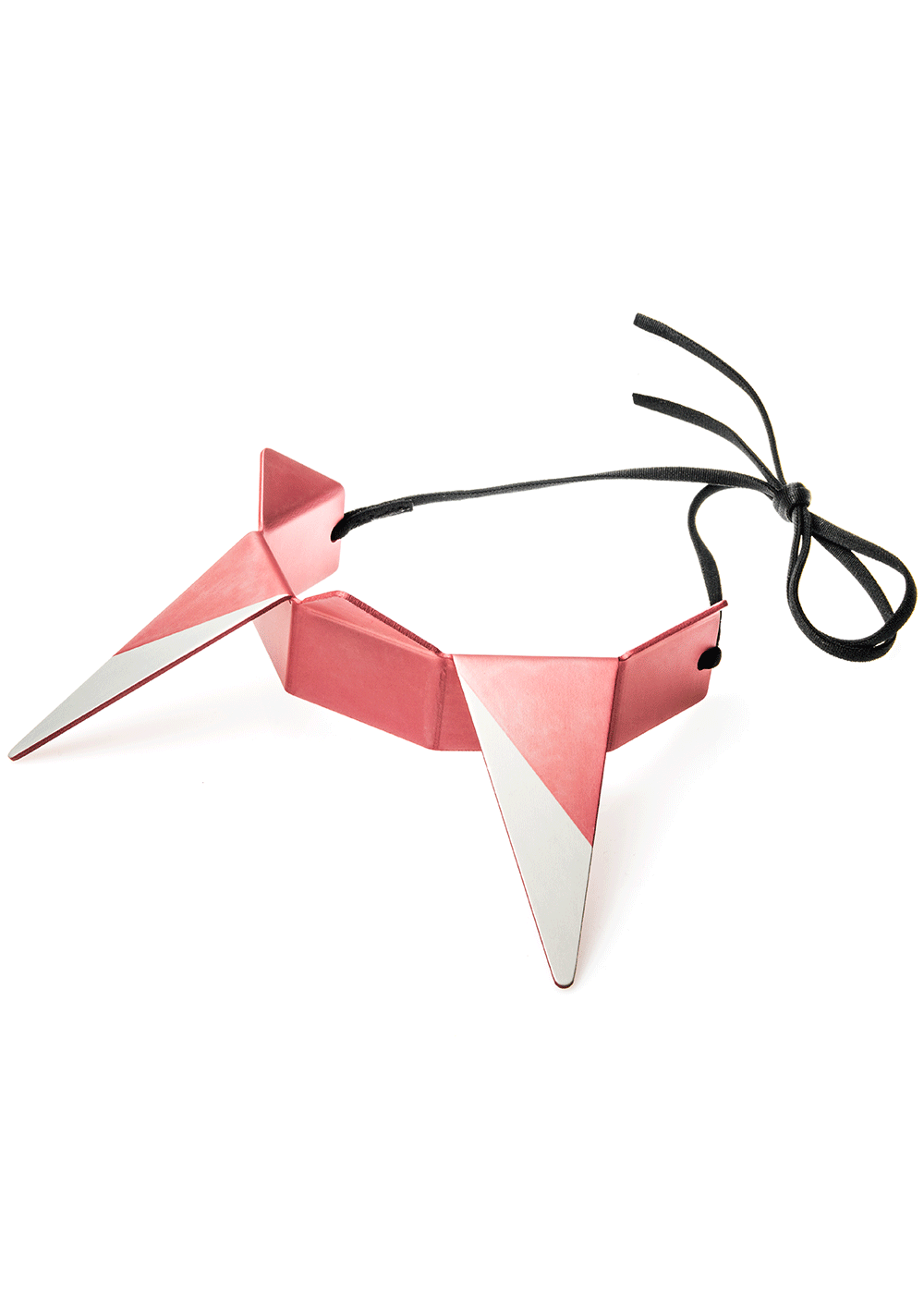 prong neck, pink / silver