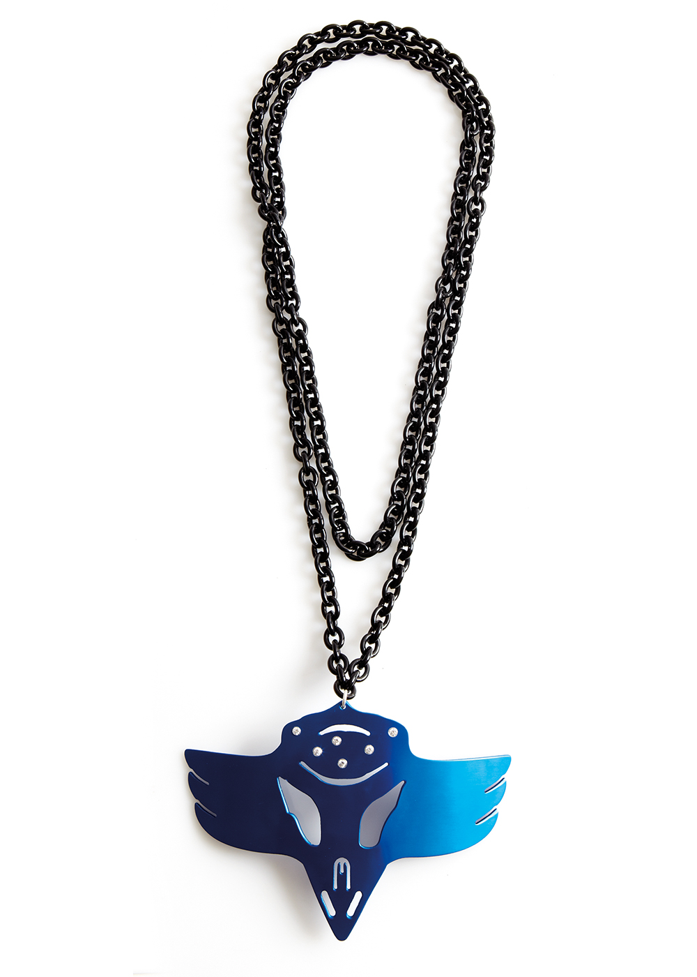 eagle shaman neck bling, blue